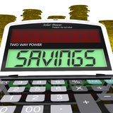 Savings Calculator Shows Setting Aside Financial. Savings Calculator Showing Setting Aside Financial Reserves Stock Photo