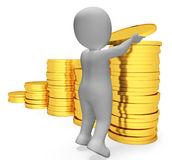 Savings Coins Indicates Character Banking And Prosperity 3d Rendering Stock Photos
