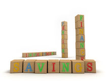 Savings concept - Child's play building blocks. A concept for easy financial services using a child's wooden alphabet building blocks. Emphasis on the word royalty free illustration