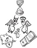 Savings concept illustrations with angel and devil Stock Images