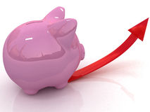 Savings concept with piggy bank Stock Photos