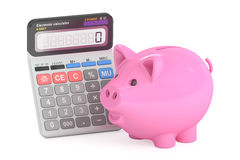 Savings concept with piggy bank and calculator, 3D rendering Stock Photography