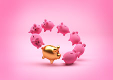 Savings Concept - Piggy Bank. A floating circle of piggy banks - with a standout gold one. Illustration Royalty Free Stock Photo