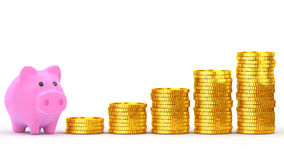 Savings concept. Piggy bank and is stacked coins Stock Image