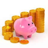 Savings concept. Piggy bank and is stacked coins Royalty Free Stock Photo