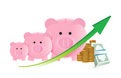 Savings concept with piggy banks chart Stock Images