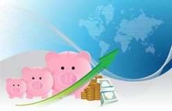 Savings concept with piggy banks chart Stock Image