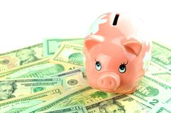 Savings. Concept with pink piggy-bank and US dollars Stock Photos