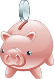 Savings Cute shiny piggy bank Stock Photography