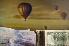 Balloon tour through Cappadocia stock photography