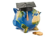 Savings for education concept. Piggy bank with map of Earth, 3D Stock Image
