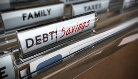 Savings. File tab with focus on savings. Conceptual image for illustration of debt vs savings Royalty Free Stock Photos
