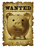 Savings And Finance Concept. With an old grunge western wanted poster with bullet holes and a portrait of a vintage piggy bank as a symbol of home finances and Royalty Free Stock Photography