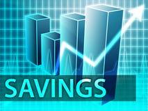 Savings finances. Illustration of bar chart diagram Stock Photography