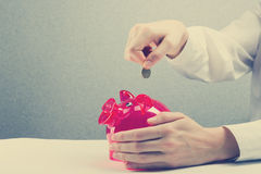 Savings, finances, economy and home concept. Savings Woman Putting Coin In Piggy Bank. Toned Image. Copy space for text Royalty Free Stock Image