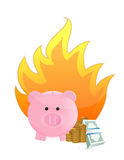 Savings on fire Stock Photography