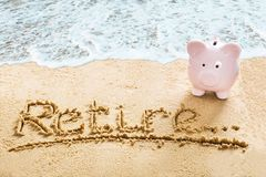 Free Savings For Retirement On Beach Stock Photography - 103335882