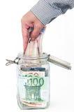Savings in glass jar Royalty Free Stock Photos