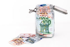 Savings in glass jar Stock Photography