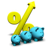 Savings Growth. Concept. With a funny growing piggybank and percentage symbol on white background Stock Images