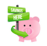 Savings here piggy bank. Illustration design over a white background Stock Photography