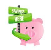 Savings here piggy bank Stock Photography