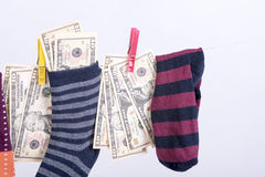 Savings hidden in a sock Stock Photography