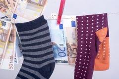 Savings hidden in a sock Royalty Free Stock Photo