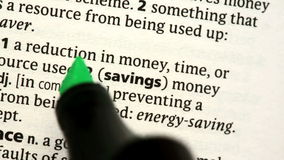 Savings highlighted. In the dictionary stock video