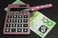 Savings i pieniądze zarządzania pojęcie z kalkulatorem Obrazy Stock