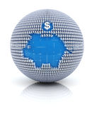Savings icon on globe formed by dollar sign Stock Photo