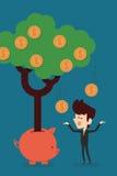 Savings Income. Happy businessman with Savings Income stock illustration