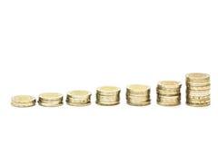 Savings. Increasing columns of coins Stock Photo