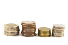 Savings, increasing columns of coins Stock Image
