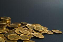 Savings, increasing columns of coins, piles of coins arranged as royalty free stock photos