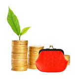 Savings, increasing columns of gold coins, red purse and green p Royalty Free Stock Photo