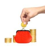 Savings, increasing columns of gold coins, Royalty Free Stock Photo