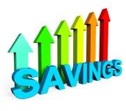 Savings Increasing Indicates Financial Report And Advance Royalty Free Stock Photos