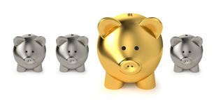 Savings And Investment Business Concept. Financial, savings and investment business concept with a big golden piggy bank or money box between three smaller on stock illustration