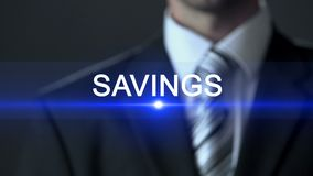 Savings, male in business suit touching screen, future planning, money problem. Stock footage stock video footage