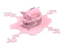 Savings melting. (3D concept with piggy bank Stock Photos