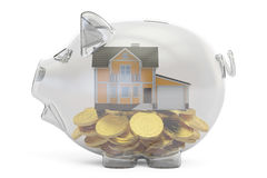 Savings money for home concept, 3D rendering. On white background Royalty Free Stock Photos