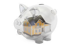 Savings money for house concept, 3D rendering Royalty Free Stock Image