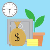Savings money vector. Bank deposit growth illustration Stock Photography