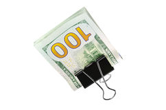 Savings new 100 $. Stack of hundred dollar bills holding together by a paper clip, isolated on white background Royalty Free Stock Image
