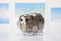 Savings in piggy bank on charts Stock Photo