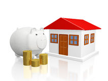 Savings Piggy Bank Gold Coins and House. A 3D illustration of a white savings piggy bank placed besides a small house and a stack of gold coins, isolated on Stock Image