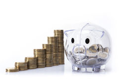 Savings in piggy bank! A lot of money!. Isolated on white background Stock Photography