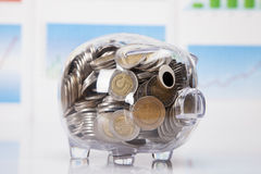 Savings in piggy bank! A lot of money!. On white background Royalty Free Stock Photo