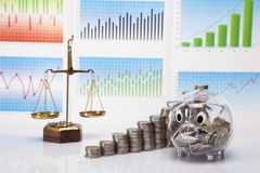 Savings in piggy bank! A lot of money! Stock Image